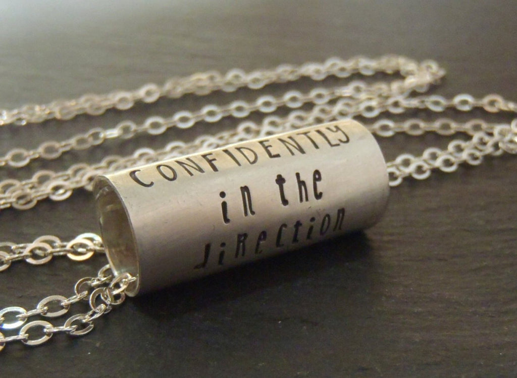 Custom quote necklace,  Hand crafted sterling silver inspirational jewelry - Drake Designs Jewelry