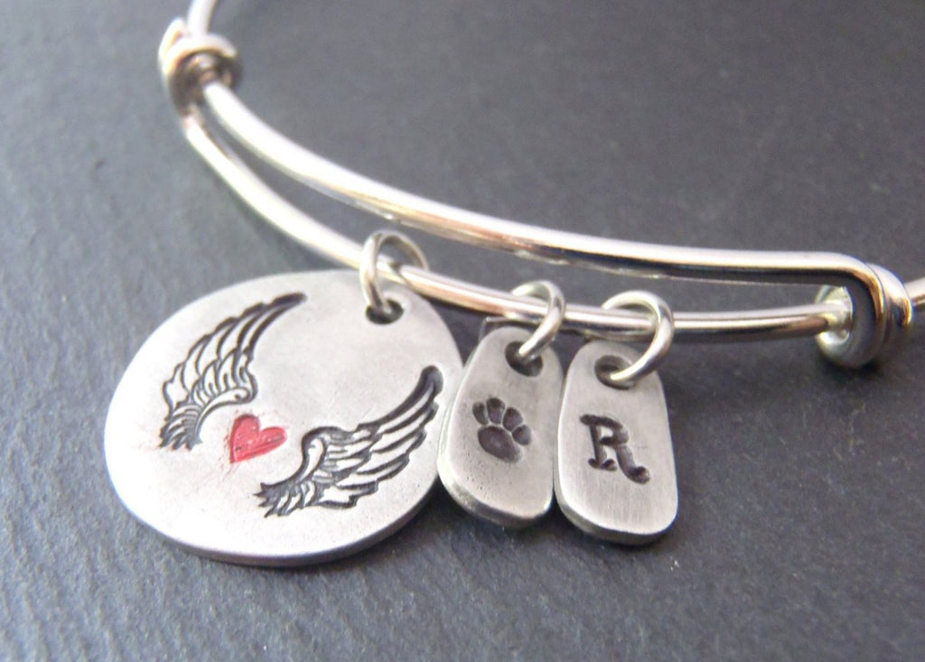 Pet memorial bracelet - personalized dog loss jewelry with pawprint and wings - Drake Designs Jewelry