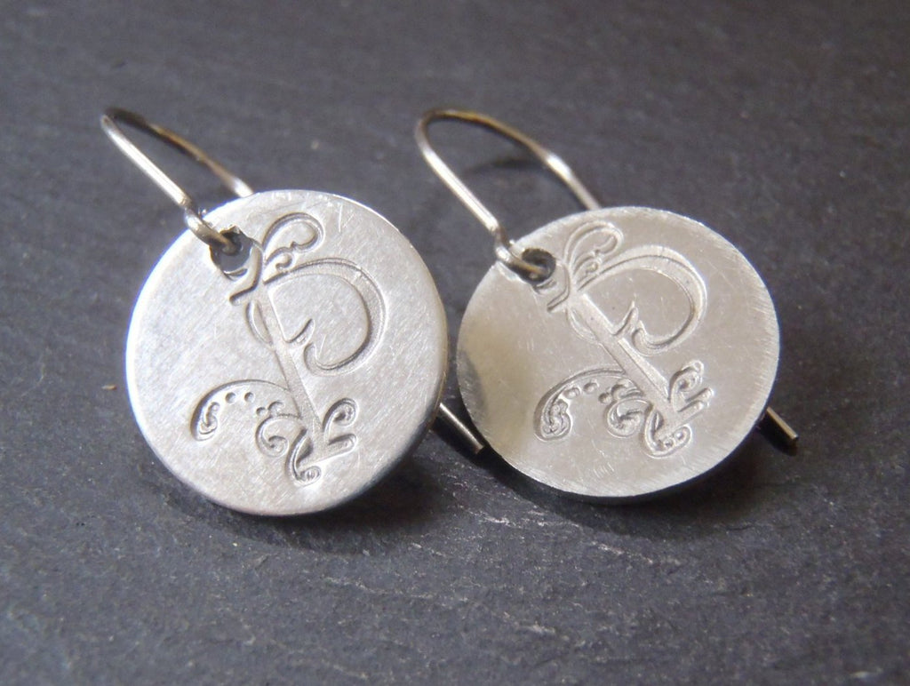 Initial earrings-  hand crafted jewelry - Drake Designs Jewelry