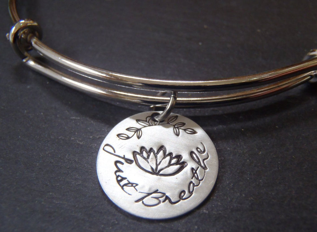 Just Breathe bracelet with inspirational lotus flower - Drake Designs Jewelry