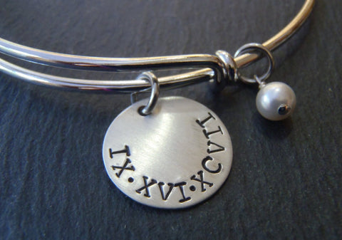 Roman Numeral bracelet with personalized hand stamped date or name and a pearl charm - Drake Designs Jewelry