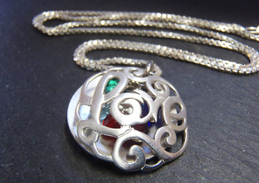 Personalized Sterling Silver Mother's locket style necklace with birthstones - Drake Designs Jewelry