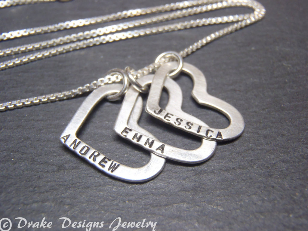 sterling silver mothers heart necklace personalized with custom names necklace heart charms with childrens names - Drake Designs Jewelry