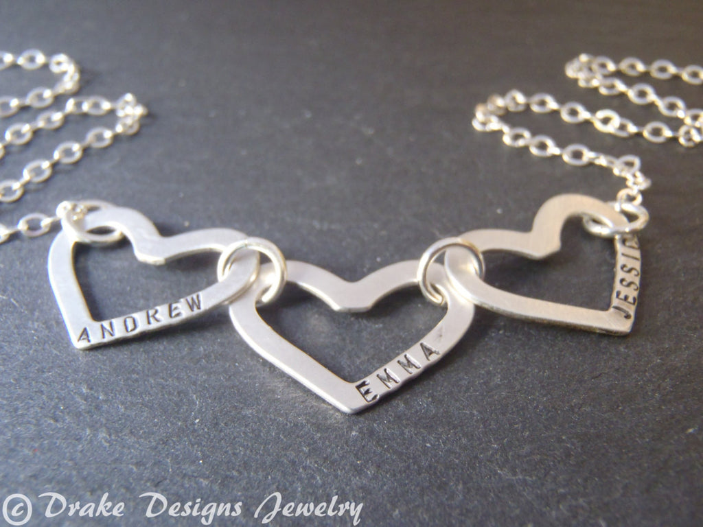 Sterling silver mother's necklace with childrens names personalized gift for her - Drake Designs Jewelry