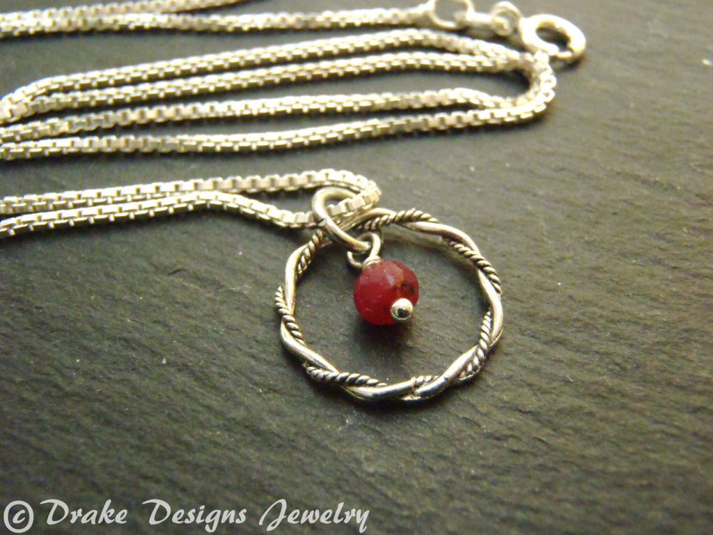 Sterling Silver tiny ruby necklace July birthstone jewelry - Drake Designs Jewelry