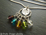Sterling silver personalized tree of life necklace mothers birthstone family tree necklace for mom - Drake Designs Jewelry