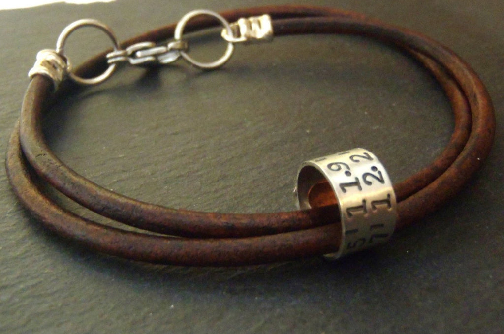 Personalized Coordinates women's or men's leather bracelet - Drake Designs Jewelry