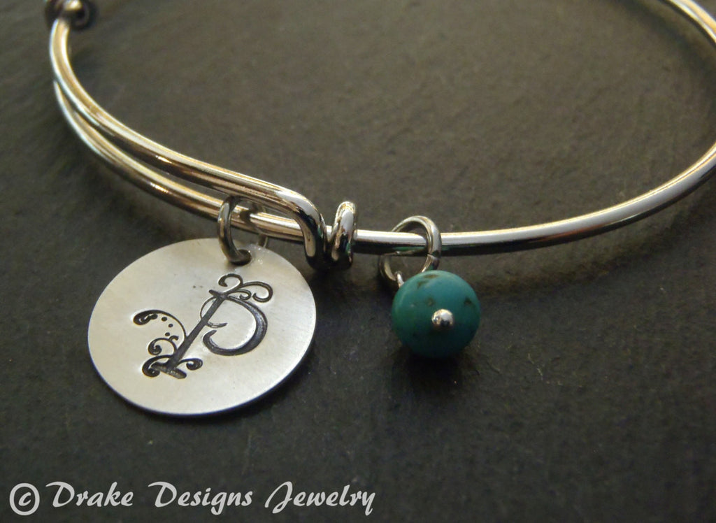 turquoise Initial bracelet personalized bangle December birthstone birthday gift for her - Drake Designs Jewelry