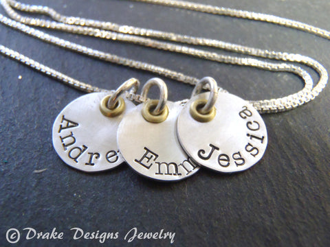 Mixed metal mom necklace with kids names. Sterling silver hand stamped Mother's Day gift - Drake Designs Jewelry