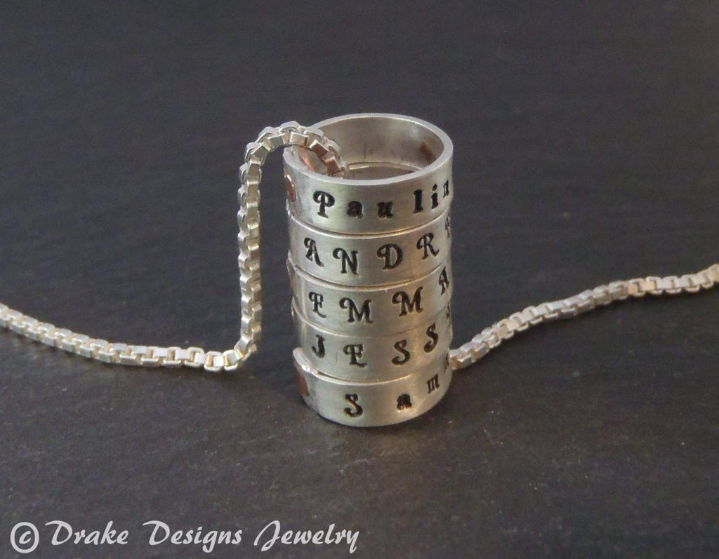 tiny custom hand stamped Sterling silver mothers necklace. Personalized mother's day gift for mom - Drake Designs Jewelry