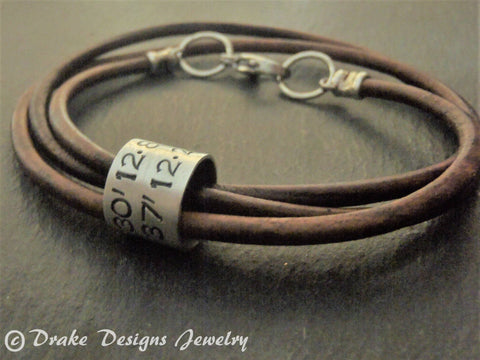 latitude longitude coordinates leather bracelet for men or women - Drake Designs Jewelry