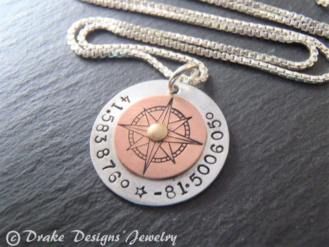 mixed metal custom coordinates compass necklace for women - sterling silver latitude longitude necklace - Drake Designs Jewelry