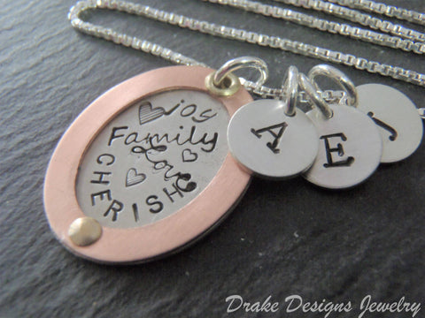 Valentines gift for wife / family initial necklace / personalized copper or rose gold fill and sterling silver - Drake Designs Jewelry
