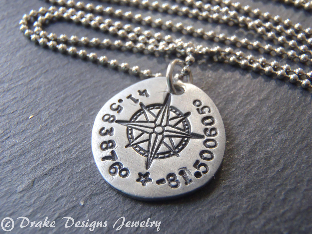 Personalized compass necklace with latitude longitude coordinates - Drake Designs Jewelry