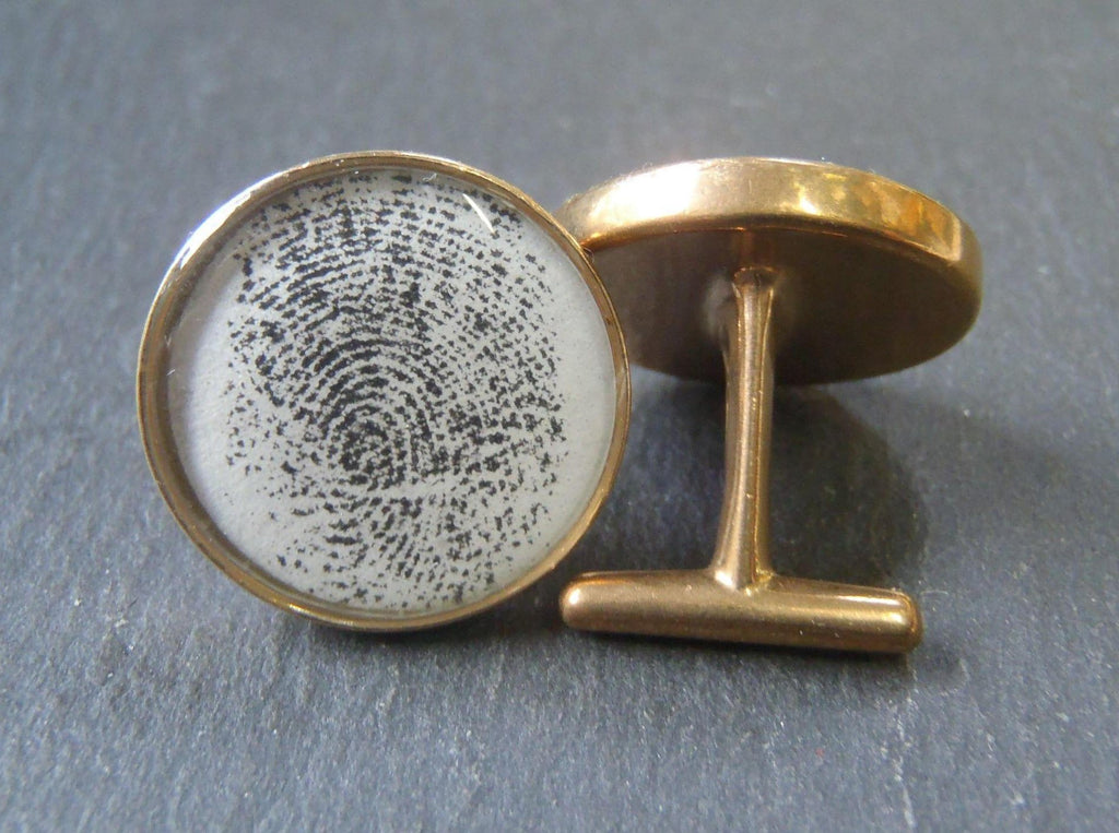 Personalized fingerprint cufflinks - Drake Designs Jewelry