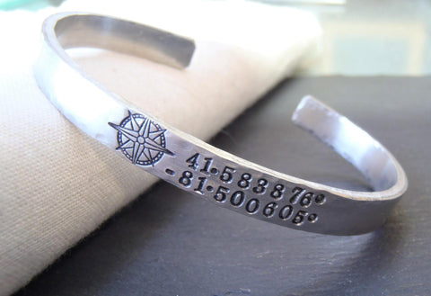Pewter cuff bracelet personalized with coordinates and compass - Drake Designs Jewelry