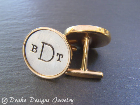 Copy of zzzMens Personalized cuff links golden bronze and sterling silver custom hand stamped rimmed Monogram cufflinks. AnniversaryHusband gift - Drake Designs Jewelry