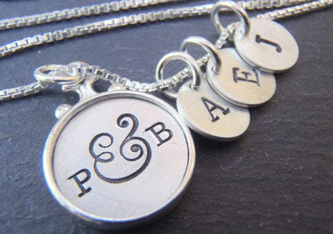 Family necklace for mom personalized with initials. Sterling silver rimmed edge pendant - Drake Designs Jewelry