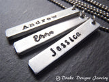 Thick pewter Personalized bar necklace with name in choice of font - Drake Designs Jewelry