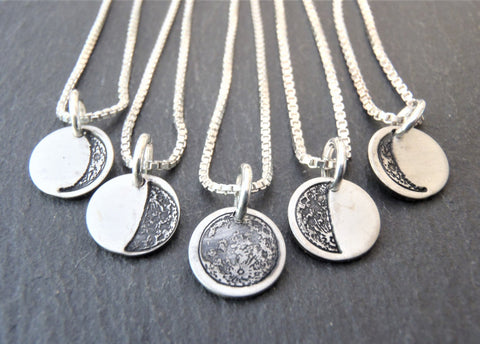 tiny sterling silver moon necklace with choice of ONE moon phase charm - Drake Designs Jewelry