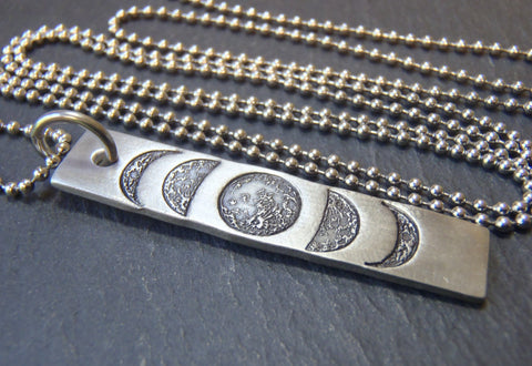 vertical bar necklace with hand stamped moon phase - Drake Designs Jewelry