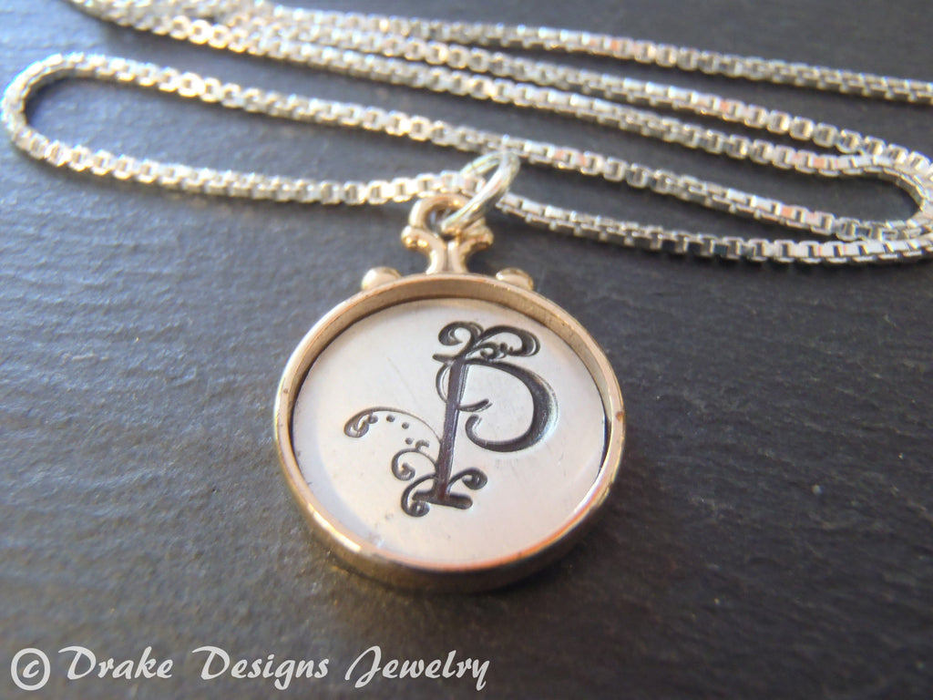 Two tone rimmed Custom initial necklace / personalized pendant / gift for her - Drake Designs Jewelry