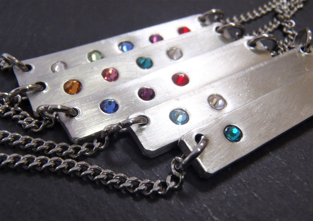 Personalized Birthstone Bar necklace for mom - Drake Designs Jewelry