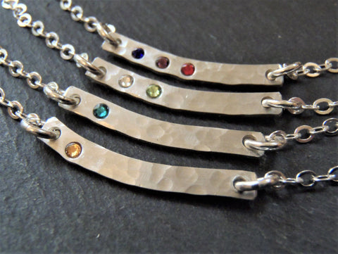 Personalized Curved bar necklace sterling silver with birthstones - Drake Designs Jewelry