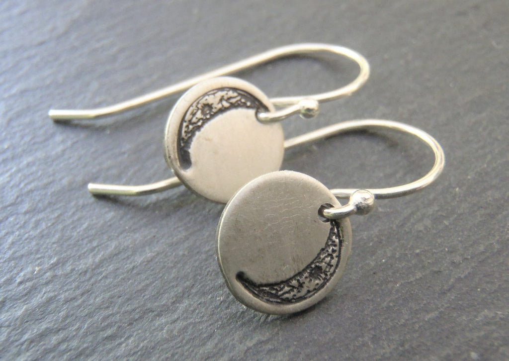 sterling silver Crescent moon dangle earrings - Drake Designs Jewelry