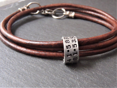 personalized leather coordinates bracelet for men or women with gps latitude and longitude hand stamped on charms