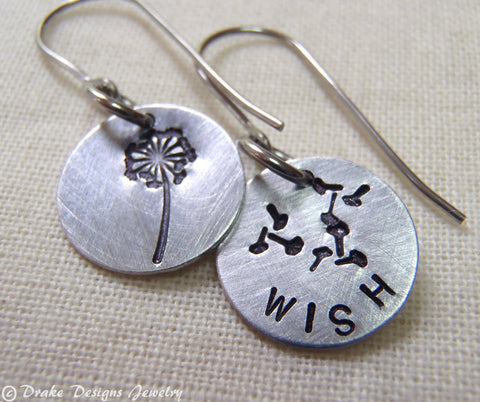 Wish  Earrings Inspirational make a wish earrings - Drake Designs Jewelry