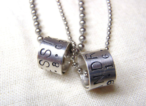 Personalized Necklace Set for couples Sterling silver charms with customized message - Drake Designs Jewelry