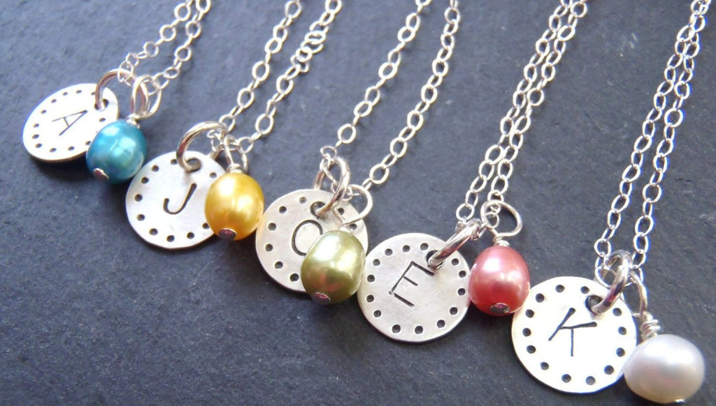 Sterling silver Initial necklace personalized with colorful pearl - Drake Designs Jewelry