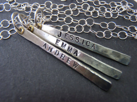 Hand stamped rustic Mom Necklace with Personalized sterling silver vertical bars with kids names - Drake Designs Jewelry