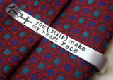 Secret Message tie clip personalized men's custom tie bar with message hidden on back - Drake Designs Jewelry