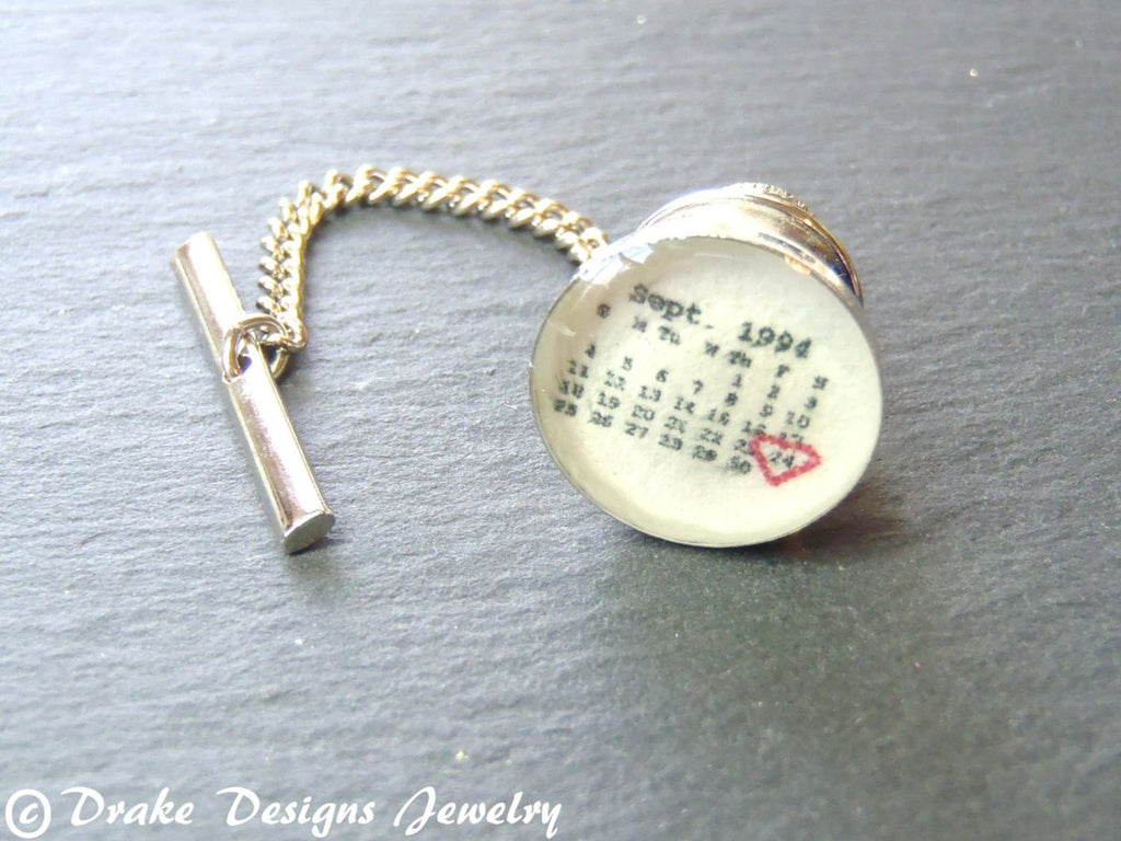 Tie tack Personalized calendar tie pin Men's - Drake Designs Jewelry
