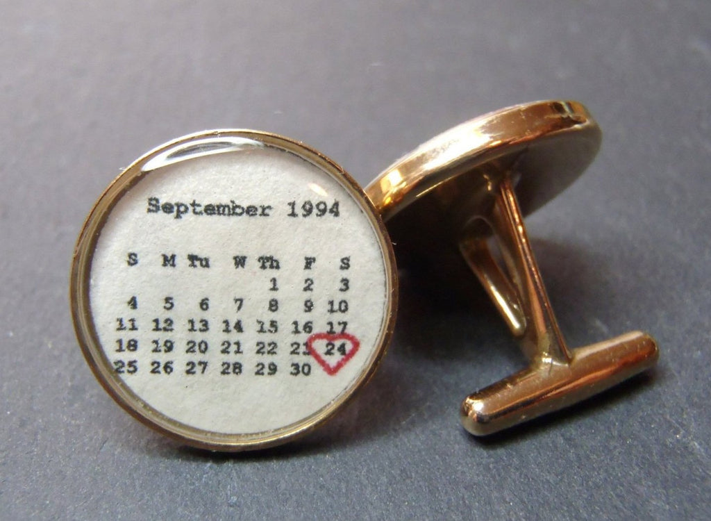 First anniversary Personalized Calendar Cufflinks. paper 1st anniversary gifts for men - Drake Designs Jewelry