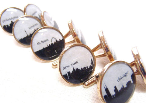 skyline Cufflinks your city skyline Chicago New York St. Louis Cleveland Los Angeles Philadelphia Toronto Milwaukee - Drake Designs Jewelry