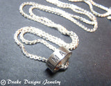 Sterling silver mom necklace with kid names personalized charms - Drake Designs Jewelry