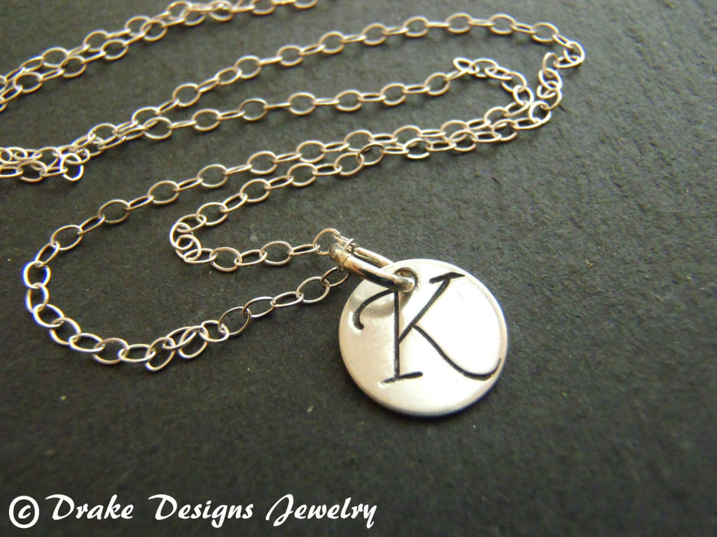 Tiny sterling silver initial necklace personalized - Drake Designs Jewelry