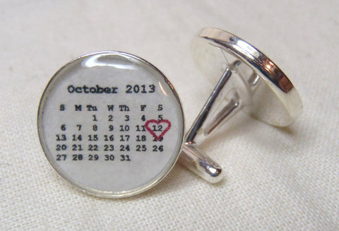 Sterling Silver Calendar Cufflinks for Men Personalized with your custom date - Drake Designs Jewelry