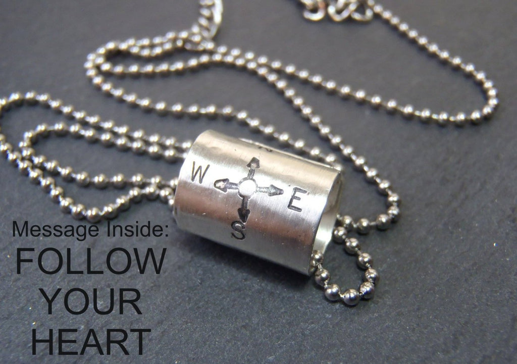 sterling silver compass necklace inspirational jewelry - Drake Designs Jewelry