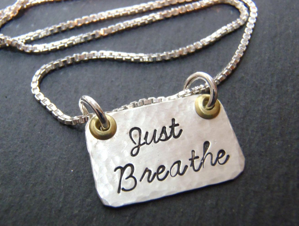 Just Breathe necklace hammered sterling silver with mixed metals - Drake Designs Jewelry