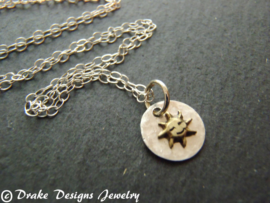 tiny sun Sterling Silver sun necklace - Drake Designs Jewelry
