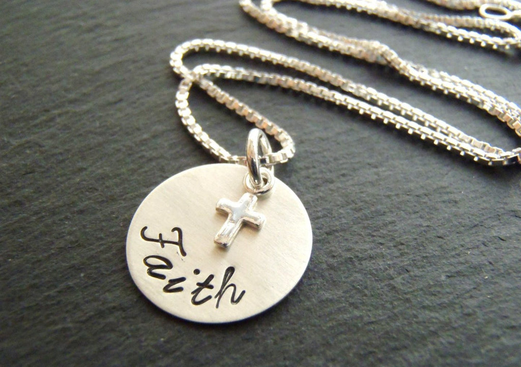 Sterling Silver Faith cross necklace Christian jewelry - Drake Designs Jewelry