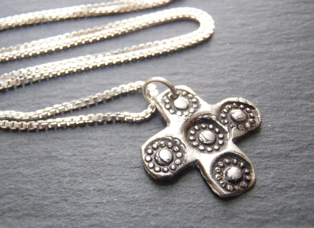 Recycled Silver Cross necklace artisan jewelry in fine silver and sterling silver - Drake Designs Jewelry