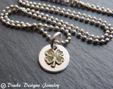 Tiny four leaf clover necklace lucky shamrock St. Patrick's Day - Drake Designs Jewelry