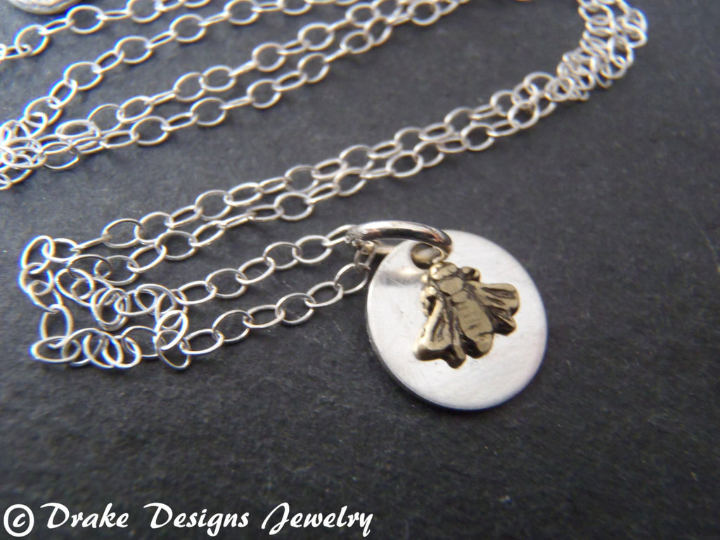 tiny bee Necklace sterling silver mixed metal - Drake Designs Jewelry