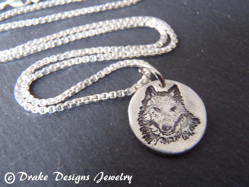 Wolf necklace recycled silver artisan jewelry - Drake Designs Jewelry