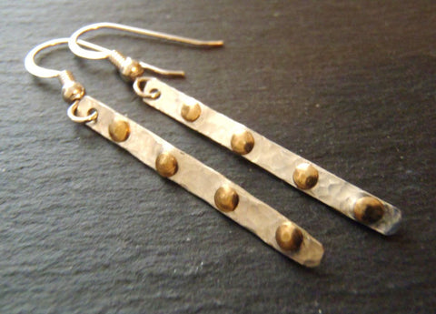 Sterling Silver studded bar earrings with mixed metal rivets - Drake Designs Jewelry